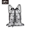 Geometric sequin for teenage girls backpack drawstring bag