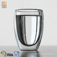 Copo de vidro duplo em forma de ovo em forma de ovo