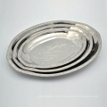 polishing 12inch silver stainless steel oval dish plate serving platter set