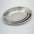 prato de prato de aço inoxidável de polimento de aço inoxidável 12 polegadas servindo conjunto de prato
