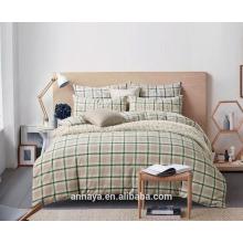 Muji estilos lavados roupa de cama de algodão com xadrez