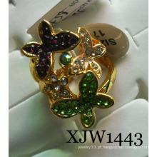 Diamante borboleta anel de liga de flor (xjw1443)