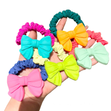 Korea Fluorescent Bow Knot Scrunchies Hair Tie Elastic Band Colorful Flower Ring Cute Girl Ponytail Head Rope Rubber Female Fash