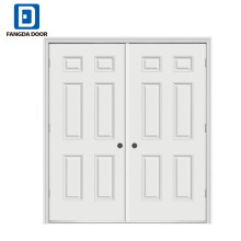 Fangda 6 panel residential exterior double steel doors