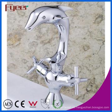 Fyeer Original Dolphin Dual Griff Badezimmer Waschbecken Wasserhahn Hot & Clod Wasser Waschbecken Mischbatterie