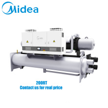 Midea inverter water cooled screw chiller 380V-3Ph-50Hz 677.6kw parallel dual compressor design water screw chiller