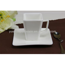 square shape ceramic cup and saucer for coffee