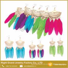 Heißer Verkauf Sektor Feder Mode Afrikanische Ohrringe