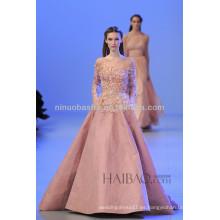 Las últimas 2014 rosa Sheer Neck manga larga vestido de boda vestido de los bolsillos Applique rebordeado Elie Saab vestido de novia NB043