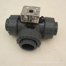 Válvula de bola accionada por palanca de válvula de agua de pvc de 3 vías
