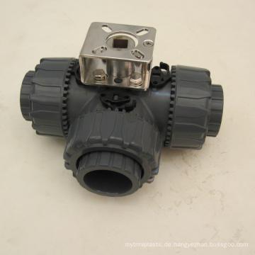 3-Wege-PVC-Wasserventil hebelbetätigtes Kugelventil
