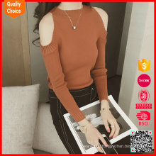 Fashion Women's knitted cultivate off shoulder sweaters
