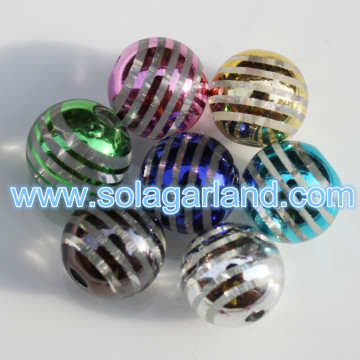 8-20MM Acrylic Plastic Mirror Shine Striped Globe Beads