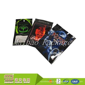 Zusammengesetztes Material-Gewohnheits-Farblogo, das drei Seitenabgedichtete kleine 3g 5g Plastikaluminiumfolie-Reißverschluss-Taschen druckt