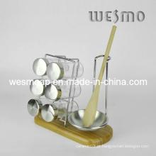 Utensílios de cozinha de bambu Spice titular garrafa Wkb0320A