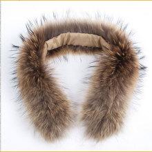 Верхнее качество Raccoon fur Trim Natural Color Real Raccoon Fur Collar