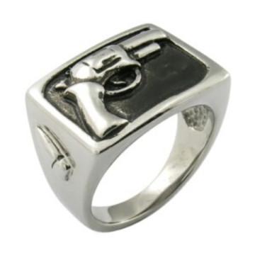 Hip Hop Silver Gun Men Ring