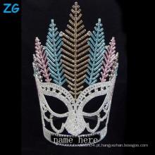 Coroa de cristal colorida grande da forma, coroas novas personalizadas Coroa da tiara do cristal de rocha, tiara feita sob encomenda