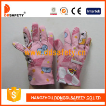 Children Garden Gloves with Pink Cotton Dgk103
