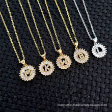 Hot Sell Copper White Cubic Zirconia Diamond 26 Alphabet Letter Charm Pendant Necklaces a-Z Initial Charm Chain Necklace for Women