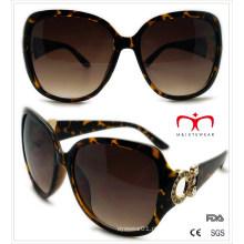Plástico senhoras óculos de sol com decoração de metal (wsp508366)