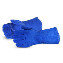 Welding Glove Royal Blue Cow Split Guantes de trabajo largos de cuero