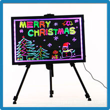 Best selling aluminium alloy frame tempered glass remote control led light up display board 40*60