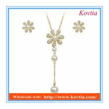 Fancy Schmuck Set 2014 Mode Schneeflocke Design lange Anhänger Perle Halskette und Ohrringe gesetzt