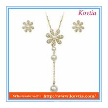 Conjunto de jóias de fantasia 2014 moda floco de neve design longo colar de pérolas pingente e brincos conjunto