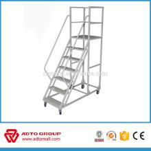 Échelle de plate-forme mobile d'aluminium de fabrication d'OEM, échelle de plate-forme se pliante, escalier en aluminium mobile