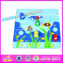 2015 Educational Kids Wooden Fishing Game Toy, Best Sale Wooden Puzzle Magnetic Fishing Toy, Wooden Magnetic Fishing Toy Wj276038