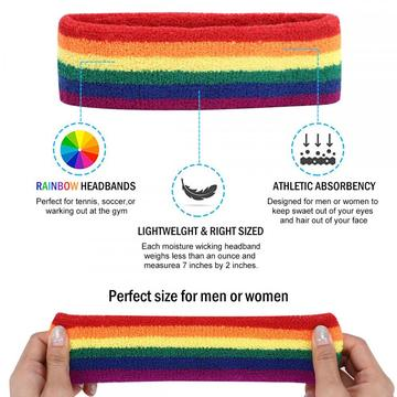 Regenbogen Kostüm Sets - Womens Rainbow Stripe Headband Set