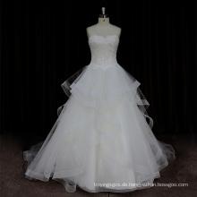 Factory Outlet schwerer Kristall Rüschen Organza Mieder Hochzeitskleid