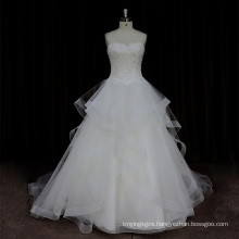 Factory Outlet Heavy Crystal Ruffle Organza Bodice Wedding Dress