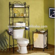 conjunto de baño, inodoro, estante de almacenamiento en el baño