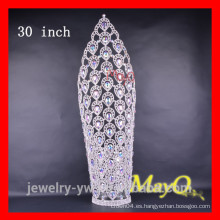 Coronas grandes del desfile del diseño del pavo real con el cristal de AB para la princesa