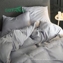 2018 Luxus Königin Größe nahtlose feste reine blaue Farbe Bambus Stoff
