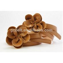 Мода детей PU пояс с PU цветок пряжки