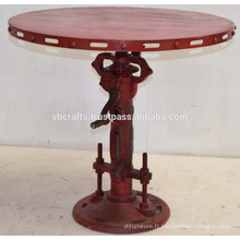 Vintage Industrial Jack Crank Table Red Antique Finish