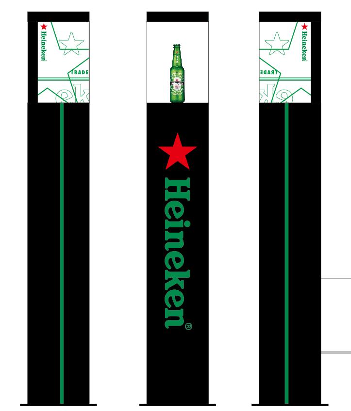 Heineken floor stand led display