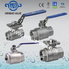 Válvula de bola de flutuação de aço inoxidável de 1000wog 2PC com dispositivo de travamento