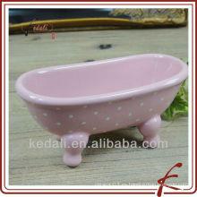 Esmalte de color rosa Cerámica jabonera linda