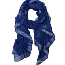 Texted Material pasado moda triángulo impreso gran raya 100% bufanda de cachemira en borlas