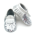 Partihandel Fancy Shoes Shining Silver Sequin Baby Moccasins
