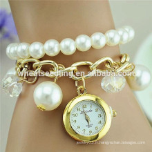 Nouveau design gilrs love pearl wrist watch for valentine's gifts