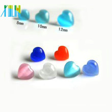 16 inch 8mm gemstone heart glass opal beads
