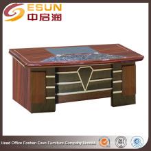 2016 mais recente design escritório mobiliário rodada borda gerente madeira MDF escritório mesa com papel pintura