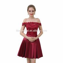 Hohe Qualität Plus Size Rotwein Satin Spitze Kurze Abendkleid Kleid