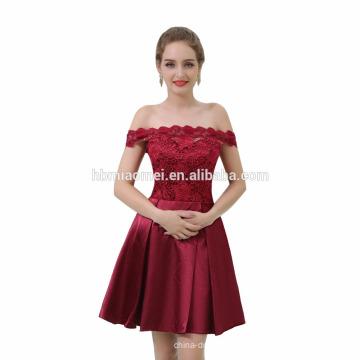 Alta qualidade plus size vinho tinto laço de cetim curto vestido de noite vestido