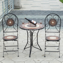 China manufactuer mobiliário de jardim clássico mesa de mosaico redondo e mobiliário de cadeira de cadeira